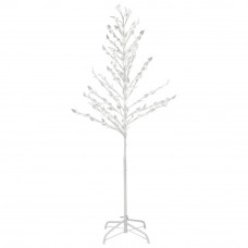 Leaf White Christmas Tree With Lights - 5ft
