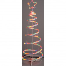 Multicoloured Spiral Christmas Tree with Lights - 4ft