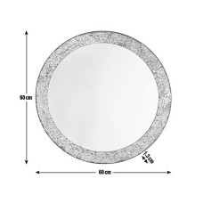 Home India Round Crackle Mirror - Silver