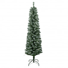HOME 6ft Pre-Lit Snow Tipped Pencil Christmas Tree - Green