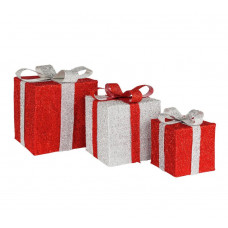 Home Set of 3 Light Up Gift Boxes Christmas Decoration - Red & Silver