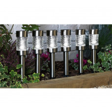 Home Stainless Steel Solar Stake Lights - Set Of 6