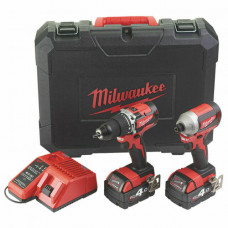 Milwaukee M18CBLPP2A-402C 18V Brushless Cordless Combi Drill & Impact Driver
