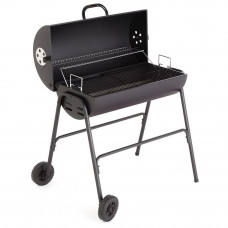 Charcoal Oil Drum BBQ With Utensils & Adjustable Grill