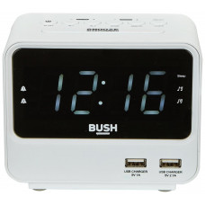 Bush 2 USB FM Radio Alarm Clock - White