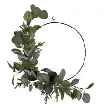 Home Pre-Lit Christmas Noir Wire Wreath - Green