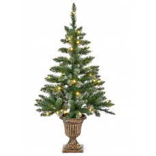 Premier Decorations 3ft Pre-lit Flocked Table Tree - Green