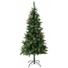 Home 6ft Berry & Cone Pre-Lit Christmas Tree - Green