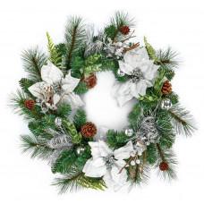 Premier Decorations 50cm White Poinsettia Wreath - Green