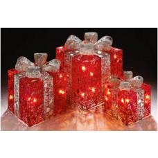 Premier Decorations Set of 3 Light Up Parcels - Red & Silver