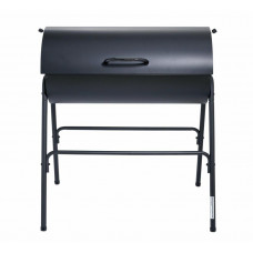 Home Charcoal Oil Drum BBQ With Warming Rack - Black
