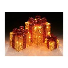 Premier Decorations Set of 3 Light Up Parcels - Gold & Red