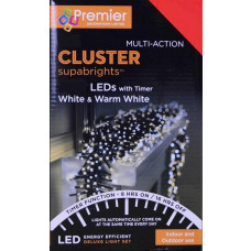 Premier 960 LED Cluster Christmas Tree Lights - White & Warm White