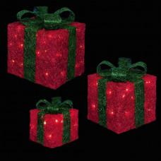 Premier Set Of 3 Glitter LED Christmas Parcels - Red & Green