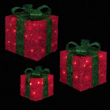 Premier Set Of 3 Glitter LED Christmas Parcels - Red & Green