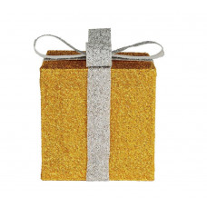 Home Set of 3 Light Up Gift Boxes Christmas Decoration - Gold & White