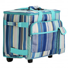 Blue Striped Picnic Cooler on Wheels