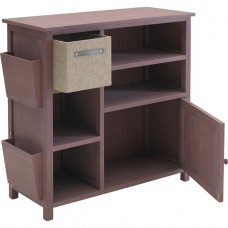 Slimline Hall Storage Unit with Jute Box - Chocolate (Slight Damage To Left Side)