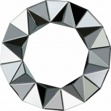 Home Ebury 65cm Round Faceted Wall Mirror - Silver