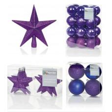 Premier Decorations 35 Piece Luxury Chrismas Tree Decoration Set - Purple