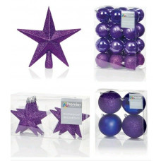 Premier Decorations 35 Piece Luxury Chrismas Tree Decoration Set - Purple