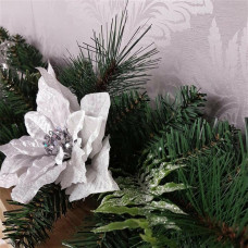 Premier Decorations 180cm Poinsettia Garland - Green & White