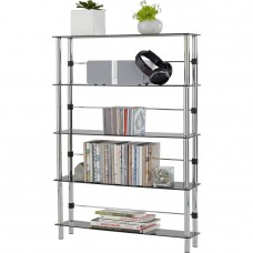 Hygena Matrix 5 Shelf DVD and CD Unit - Black Glass