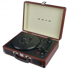 Bush Classic Portable Turntable Vinyl Record Player - Brown