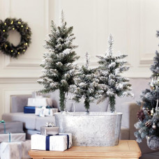 Home Trio Of Snowy Christmas Trees In Pot