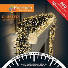 Premier Decorations 960 Cluster LED Lights with Timer - Warm White