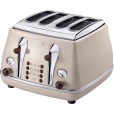 DeLonghi CTOV4003BG 4 Slice Vintage Icona Wide Slot Toaster - Cream
