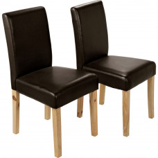 Aston Pair of Chocolate Oak Leather Effect Dining Chairs
