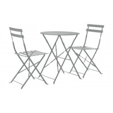 Home Eve Folding 2 Seater Metal Bistro Set - Grey
