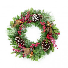 Premier 50cm Natural Frosted Wreath With Pinecones & Berries