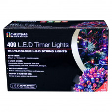 400 LED Battery Operated Timer Lights - Multicoloured