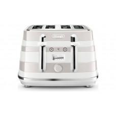 DeLonghi CTAC4003.W Avvolta 4 Slice Toaster -White/Beige