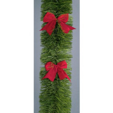 Premier Decorations Tinsel and Bows Garland - Green & Red