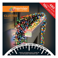 Premier Decorations 480 LED Clusters & Timer Christmas Lights - Multicoloured