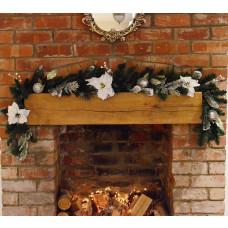 Premier 6ft White Poinsettia Christmas Garland Silver Balls - Green