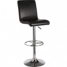 Turner Black Leather Effect Seated Bar Stool