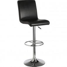 Turner Black Leather Effect Seated Bar Stool