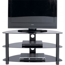 Black Glass Curved TV Stand - Up to 42 Inch