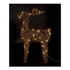 Home Rattan Reindeer 50 LED Lights - Warm White