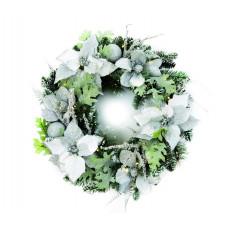 Premier Pre-Lit White & Silver Poinsettia Christmas Wreath - 24in