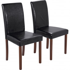 Pair of Walnut Stain Black Leather Effect Mid Back Chairs