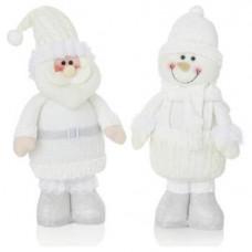 Premier Decorations Set Of Santa & Snowman Decorations - White