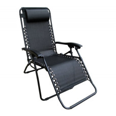 Home Pack of 2 Garden Loungers - Black