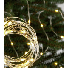 Home 120 Warm White LED String Christmas Lights - 12.4m
