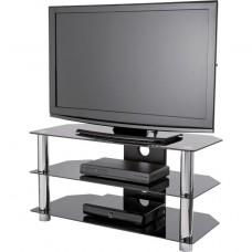 Black Glass TV Stand with Chrome Legs - Up to 42 Inch