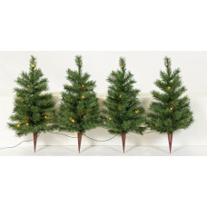 Home Set Of 4 Christmas Tree Path Finders - Green